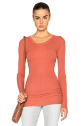 Enza Costa Rib Long Sleeve Tee In Orange