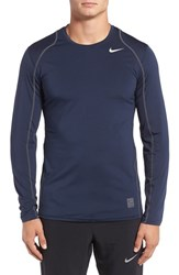 Nike Men's 'Pro Cool Compression' Fitted Long Sleeve Dri Fit T Shirt Obsidian White