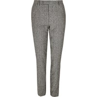 River Island Mens Grey Neppy Skinny Suit Trousers