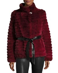 Gorski Reversible Down And Fur Belted Puffer Coat Wine