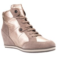Geox Illusion Wedge Heeled Lace Up Trainers Champagne Leather