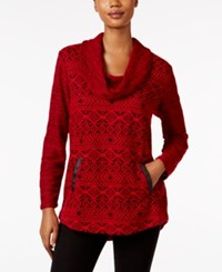 Styleandco. Style Co. Jacquard Cowl Neck Knit Top Only At Macy's Aztec Red