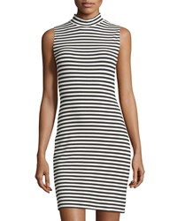 French Connection Sleeveless Mock Neck Striped Sheath Dress Summer White Black