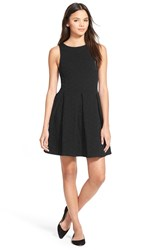 Frenchi Textured Fit And Flare Dress Black