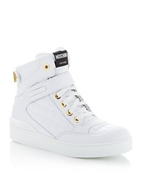 Moschino Quilted Lace Up High Top Sneakers White