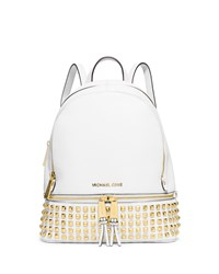 Michael Michael Kors Rhea Small Studded Leather Backpack Optic White