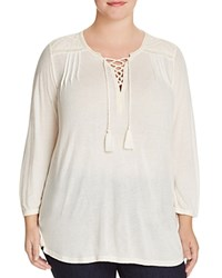 Lucky Brand Plus Lace Up Front Peasant Blouse Marshmallow
