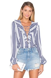 L'academie The Ruffle Boho Blouse Navy