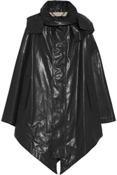 Belstaff Cora Hooded Rubberized Cotton Cape Black