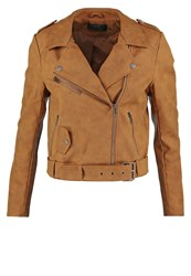Only Onldeep Faux Leather Jacket Rubber Brown