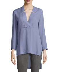 Halston Notched V Neck High Low Tunic Top Lavender Purple