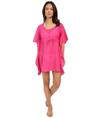 Echo Solid Embroidered Butterfly Top Fuchsia Flower Women's Short Sleeve Pullover Pink