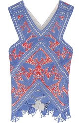 Tory Burch Evie Crocheted Lace Top Blue