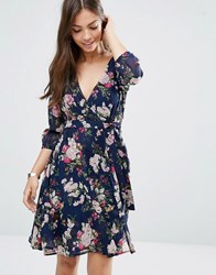 Yumi Wrap Dress In Floral Print Navy