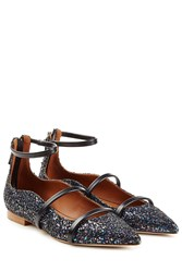 Malone Souliers Glitter Ballerinas With Leather Black