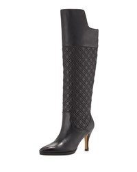 Neiman Marcus Josie Quilted Leather Knee Boot Black