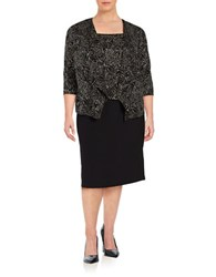 Alex Evenings Plus Glitter Floral Twinset Black Gold