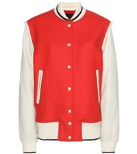 Rag And Bone Edith Wool Blend Leather Varsity Jacket Red