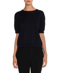 Miu Miu Half Sleeve Sweater W Gingham Bow Back Navy