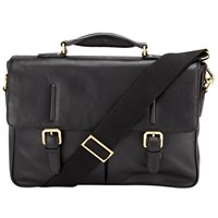 John Lewis Salzburg Leather Mini Briefcase Black