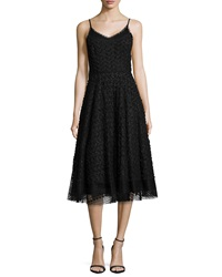 Tracy Reese Sleeveless Embellished Overlay Cocktail Dress Black