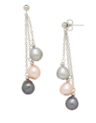 Honora Style Sterling Silver And Multi Fresh Water Pearl Drop Earrings Pink Grey White