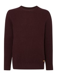 Army And Navy Maple Textured Crew Neck Jumper Claret
