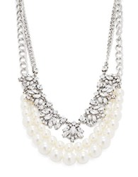 Design Lab Lord And Taylor Three Row Graduated Faux Pearl Crystal Necklace Silver