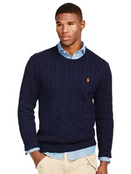Ralph Lauren Polo Cable Knit Crew Neck Jumper Hunter Navy