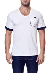 Men's Maceoo 'Blanc' V Neck Cuff Sleeve Pocket T Shirt