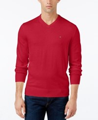 Tommy Hilfiger Men's Pima Cotton And Cashmere V Neck Sweater Apple Red Heather