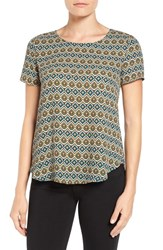 Pleione Women's Pleat Back Woven Print Top Ivory Mustard Teal