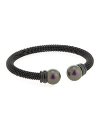 Majorica Tahitian Round Pearl Black Steel Bangle