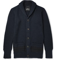Nigel Cabourn Shawl Collar Wool Cardigan Navy