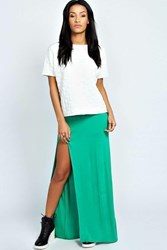 Boohoo Thigh High Split Maxi Skirt Bright Green