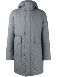 Moncler Gamme Bleu Padded Hooded Coat Grey
