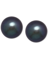 Honora Style Black Dyed Freshwater Pearl Earrings 8Mm In 14K Gold