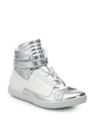 Pierre Hardy Metallic Leather High Top Sneakers Silver