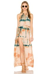 Blue Life Double Slit Halter Dress Peach
