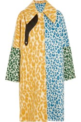 Acne Studios Bertilyn Leo Oversized Leopard Print Felt Coat Yellow