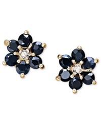 Victoria Townsend Sapphire 1 3 4 Ct. T.W. And Diamond Accent Flower Stud Earrings In 18K Gold Over Sterling Silver