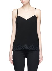 Theory 'Sakshee' Scalloped Lace Hem Crepe Camisole Black