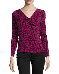 Catherine Catherine Malandrino High Long Sleeve Leopard Top Electric Pink