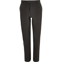 River Island Mens Black Geometric Print Jacquard Suit Trousers