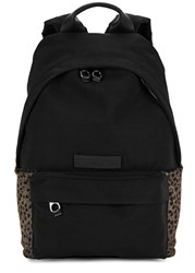 Mcq By Alexander Mcqueen Leopard Print Calf Hair Panelled Backpack Black
