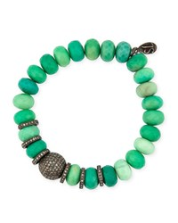 10Mm Chrysoprase Bracelet With Diamonds Silver Sheryl Lowe
