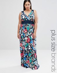 Club L Plus Maxi Dress With Wrap Front In Floral Print Navy Floral