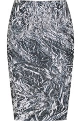 Mcq By Alexander Mcqueen Printed Stretch Cotton Jersey Pencil Skirt Black