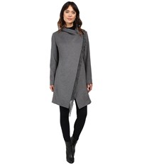 Lauren Ralph Lauren Fringe Cowl Neck Double Face Grey Women's Coat Gray