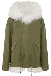 Mr And Mrs Italy Shearling Lined Cotton Canvas Parka Army Green